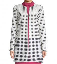 White Dot-Print Topper Jacket