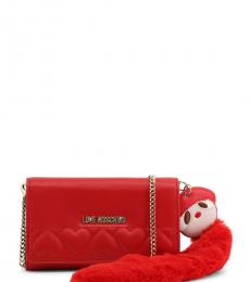 Love Moschino Red Fur Doll Clutch