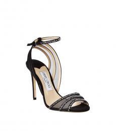 Black Crystal Mesh Heels