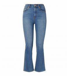 Anni Cropped Boot-Cut Marble Jeans