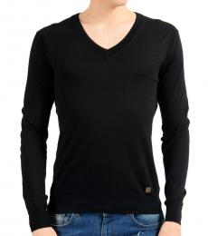 Versace Collection Black Silk V-Neck Sweater