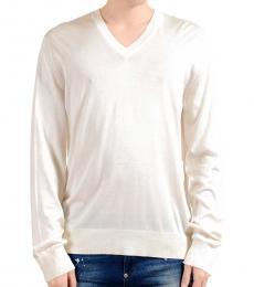 Dolce & Gabbana White V-Neck Knitted Sweater