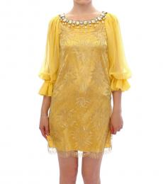 Yellow Lace Crystal Dress