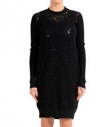 Versus Versace Black Long Sleeve Lace Sheath Dress