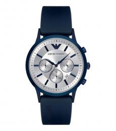 Emporio Armani Blue Renato Silver Dial Watch
