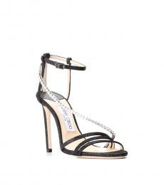 Jimmy Choo Black Ankle Strap Crystal Heels