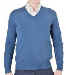 Blue Knitted V-Neck Sweater