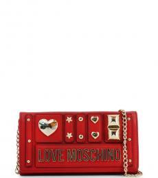 Love Moschino Red Metal Studs Clutch