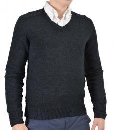 Dolce & Gabbana Grey Knitted V-Neck Sweater