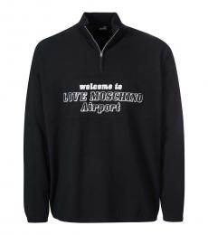 Love Moschino Black Quarter Zip Logo Sweater