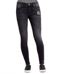 Grey Mist Halle Mid Rise Super Skinny Patched Jean