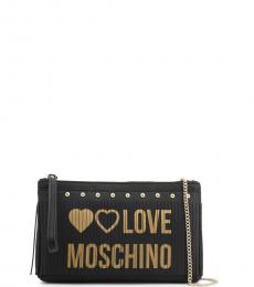 Love Moschino Black Fringe Logo Clutch