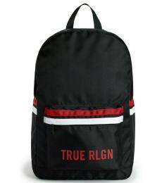 Black Logo Stripe Colorblock Large Backpack