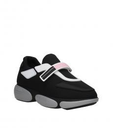 Prada Black Logo Strap Sneakers