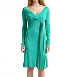 Versace Collection Forest Green Solid Stretch Dress