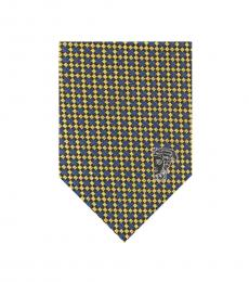 Versace Yellow Blue Printed Silk Tie