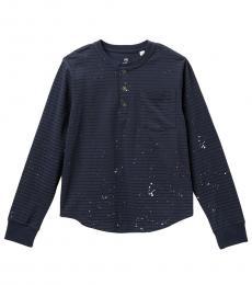 AG Adriano Goldschmied Boys Navy Yarn Dye Henley T-Shirt