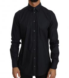 Dolce & Gabbana Black Cotton Formal Dress Shirt