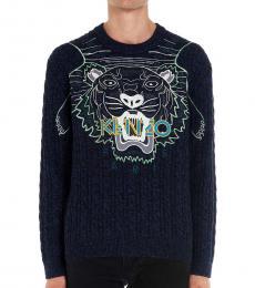 Kenzo Blue Tiger Logo Sweater