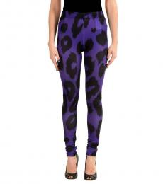 Purple Graphic Print Stretch Leggings