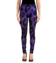 Versus Versace Purple Graphic Print Stretch Leggings