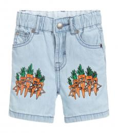 Baby Girls Blue Chambray Shorts