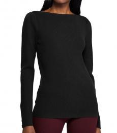 Ralph Lauren Black Petite Puffed-Sleeve Sweater