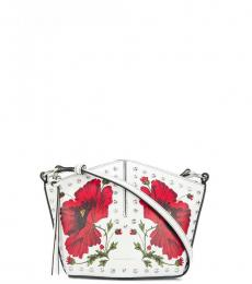 Alexander McQueen White Floral Studded Small Crossbody