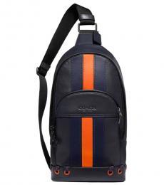 Coach Midnight Orange Houston Stripe Large Sling Pack