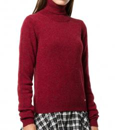 Red Wool Turtle Neck Sweater