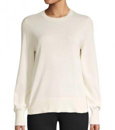 White Crewneck Cotton-Blend Sweater