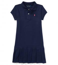 Ralph Lauren Little Girls French Navy Pleated Polo Dress