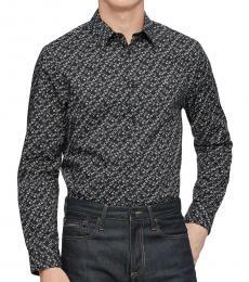 Black Printed Slim-Fit Shirt
