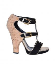 Dolce & Gabbana Black Gold Suede Heels