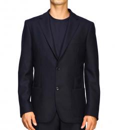 Fay Dark Blue Single-Breasted Wool Jacket
