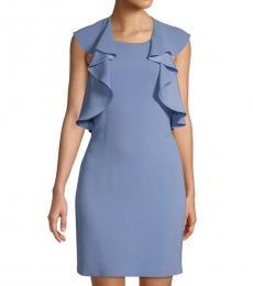 BCBGMaxazria Misty Blue Ruffle Shift Dress