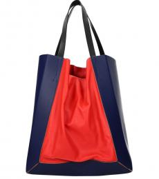 Blue/Bright Red Solid Colorblock Large Tote