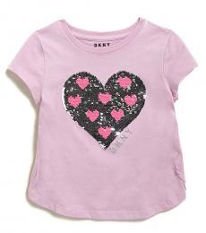DKNY Little Girls Pink Flip Sequin Heart T-Shirt