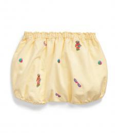 Ralph Lauren Baby Girls Yellow Polo Bear Oxford Bloomer Shorts
