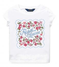 Little Girls White Graphic T-Shirt