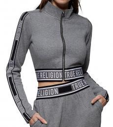 True Religion Grey Logo Crop Zipper Jacket