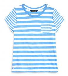 Ralph Lauren Girls Harbor Island Blue Striped T-Shirt