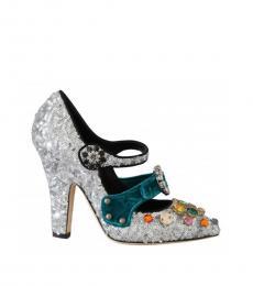 Silver Sequined Crystal Heels