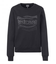 Just Cavalli Black Gemstones Logo Sweatshirt