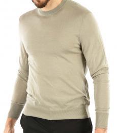 Beige Sim Fit Crewneck Sweater