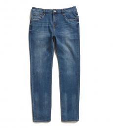 Boys Blue Slimmy Stretch Five-Pocket Jeans