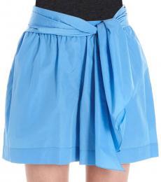 Kenzo Light Blue  Draped Cotton Blend Shorts