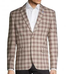 Ben Sherman Light Brown Standard-Fit Plaid Sportcoat