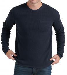Navy Blue Ribbed Pocket Sweater