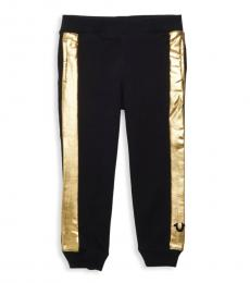 True Religion Little Girls Black Metallic-Stripe Sweatpants